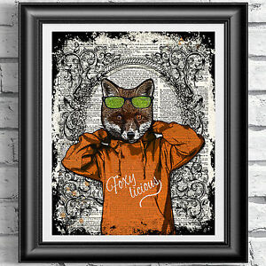 Illustration print on antique dictionary book page hipster animal wall decor Fox