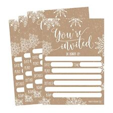 Snowflake Holiday Invitations 5x7 Set of 25 Postcards Cards Invites