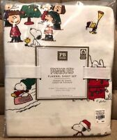Pottery Barn Teen Peanuts Snoopy Flannel Twin Sheet Set New Christmas Holiday
