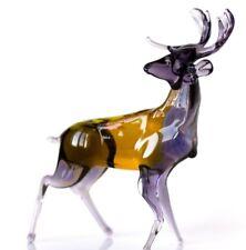 """Brown Yellow Deer Figurine Blown Glass """"Murano"""" Art Animal Elk Sculpture"""
