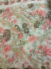 Beautiful Axcess Floral Rose Pink Beige Cream Scarf Made in Italy