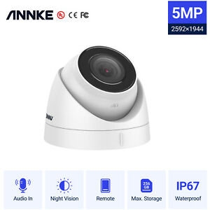 ANNKE 5MP HD POE IP CCTV Outdoor Turret Dome Audio Camera IP67 Security System