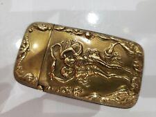 NUDE ANTIQUE ART NOUVEAU Gold Tone Nude Nymphs Figures Match Safe Vesta Case