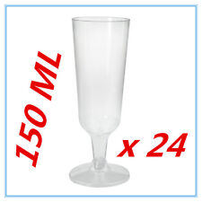 24PK DISPOSABLE PARTY PLASTIC CLEAR CHAMPAGNE GLASS -ALL Occasions WEDDING AP
