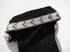 Vintage Designer Glass Beaded Chevron Pattern Cuff Ladies Fancy Gloves Size M