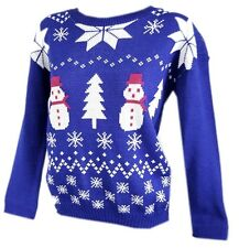 New Womens knitted Reindeer red cat festive christmas xmas jumper top size 8-16