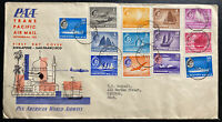 1955 Singapore Malaya First Day Cover FDC To Saginaw MI USA Tran Pacific Airmail