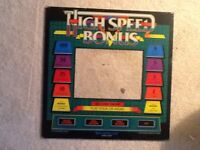 HIGH SPEED BONUS ARCADE VIDEO GAME BACK GLASS