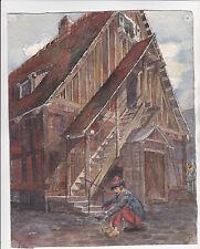 Schöne Malerei Fachwerkhaus Treppe Mann sitzend Flandern? Niederlande? Friesland