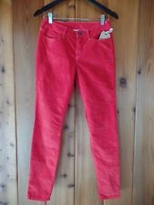 New True Religion Halle Skinny Cords Pants Size 28 Red