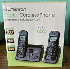 EMERSON EM6120-2 DIGITAL CORDLESS PHONE DUAL HEADSET ANSWERING SYSTEM FREE SHIP