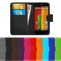 Premium Luxury Leather Flip Wallet Case Cover For Motorola Moto G (1st Gen)