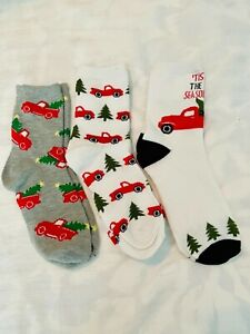 Set of 3 Red Truck Christmas / Winter Socks Unisex One Size Brand New !