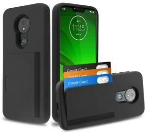 For Motorola Moto G7 Power - Black Hybrid Credit Card Pocket Nonslip Case Cover