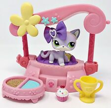 Littlest Pet Shop LOT Purple Shorthair Cat Green White Eyes 2094 Accessories Bed