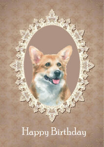 CORGI DOG  BIRTHDAY GREETINGS NOTE CARD