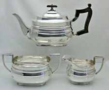 Antique Solid Sterling Silver Quality 3 Piece Tea Service 1913 Sheffield 1110 Gr