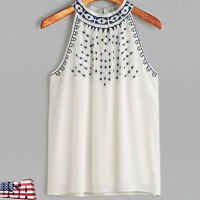 Ethnic Women Summer Embroidered Halter Tank Top Sleeveless Casual Blouse T-Shirt