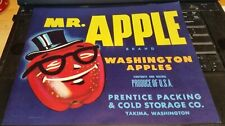 Mr Apple Brand Washington Apples Prentice Packing & Cold Storage Co Yakima Label