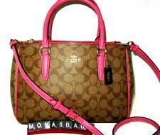 Coach F67026 Surrey Signature Carryall Khaki & Pink Ruby Handbag NWT $398
