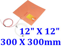 "12"" X 12"" 300 X 300mm w/ 3M Thermistor 3D Printer Heated Bed CE Silicone Heater"