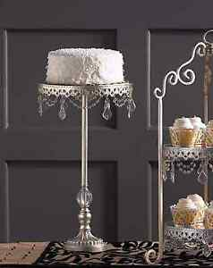 Tall Display Shabby Crystal Prisms French Cupcake Wedding Large Cake Stand