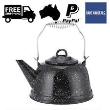 2.4L Enamel Kettle Brewing Stove Teapot Coffee Tea Campfire Camping Glazed Black