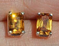 Golden Yellow MONTANA SAPPHIRE 6x4 Emerald Cut 925 Sterling Silver Stud Earrings