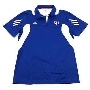 Adidas Climalite Scorch Université De Kansas Jayhawks Snap Bouton Polo Sec L