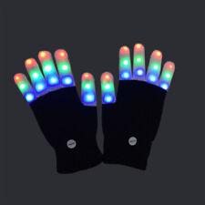 LED Rave Flashing Gloves Glow 7 Mode Light Up Finger Lighting Party Kids Xmas /