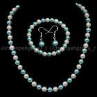 8mm+White+Light+Blue+Shell+Pearl+Round+Beads+Necklace+Bracelet+Earrings+Set+18%27%27