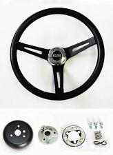 "Chevelle Camaro Nova Impala Black on Black Steering Wheel 13 1/2"" SS Center Cap"