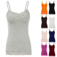 Women Basic Cami Camisole Lace Trim Spaghetti Strap Tank Top Tunic Blouses S-2XL