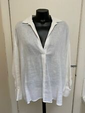 Zara White Long Sleeved Linen Shirt Blouse Top Size Medium