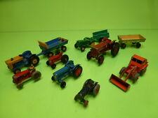 LOT of FARM VEHICLES LESNEY MATCHBOX SIKU TRACTORS WAGONS BULLDOZER - NICE COND