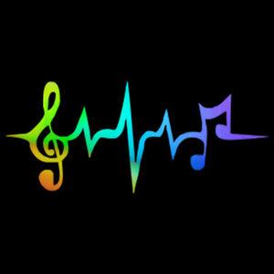 Heartbeat Musical Note Decal Car Window Door Bumper Wall Laptop Vinyl Sticker