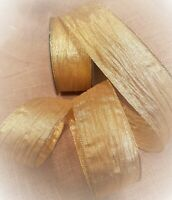 GOLDEN SWEETIE WRAPPER Gold Creased Crinkled - Luxury Wire Edge Ribbon LOW STOCK