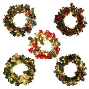 Christmas Wreath with LED Light String Xmas Hanging Garland Lamp Door Ornament