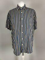Zara Men Shirt Relaxed Fit Blue Mustard Striped Print Short Sleeve Size Large L