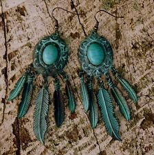 Boho Metal Patina Feather Earrings  Turquoise Colour Dangle Wire - Gypsy Cowgirl