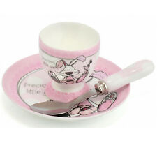 BABY GIRL EGG CUP SPOON SAUCER CHRISTENING DAY GIFT SET PRESENT BOXED NEW BORN