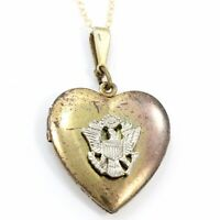 VINTAGE STERLING Silver ARMY Two Tone HEART Picture LOCKET Pendant NECKLACE