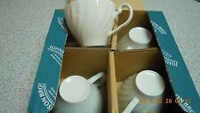 4 Johnson Brothers REGENCY England FARM HOUSE WHITE Coffee Tea Cups New in Box