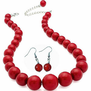 Dark red colour graduated bead choker necklace and earring set costume jewellery