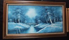 Blue Steel Original R Thomas Painting 48X24  Winter Landscape Framed Art