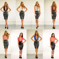 New ladies sexy plunge backless leather halterneck glam midi celeb bodycon dress