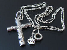 Collier Halskette u Kreuz Anhänger 925 Sterling Silber Jesus Korpus Kette Unisex
