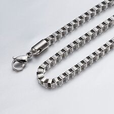 "4mm 16""-36"" Silver Stainless Steel Box Necklace Chain Sb10 USA Seller"