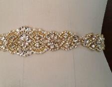 "Wedding Sash Belt = 14.5"" Gold Clear CRYSTAL PEARL Wedding Sash Belt = IVORY"