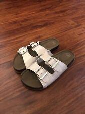 Girls Sandals Size 2, White, Wonder Nation, Slip On, Buckle